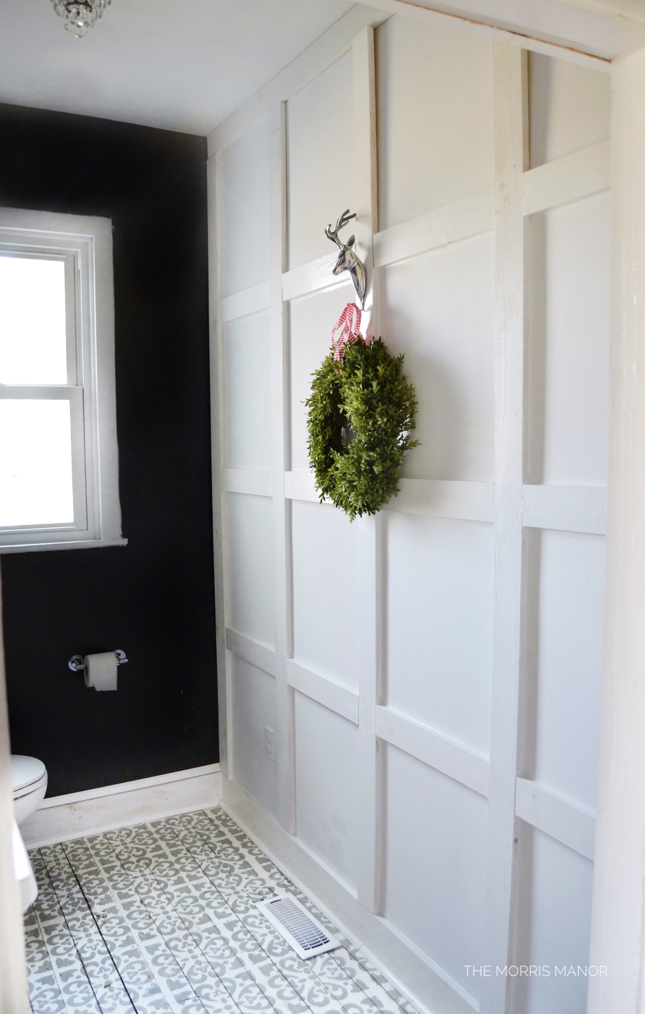 Farmhouse bathroom, black, board grid + batten wall treatment - The Morris Manor Home Tour