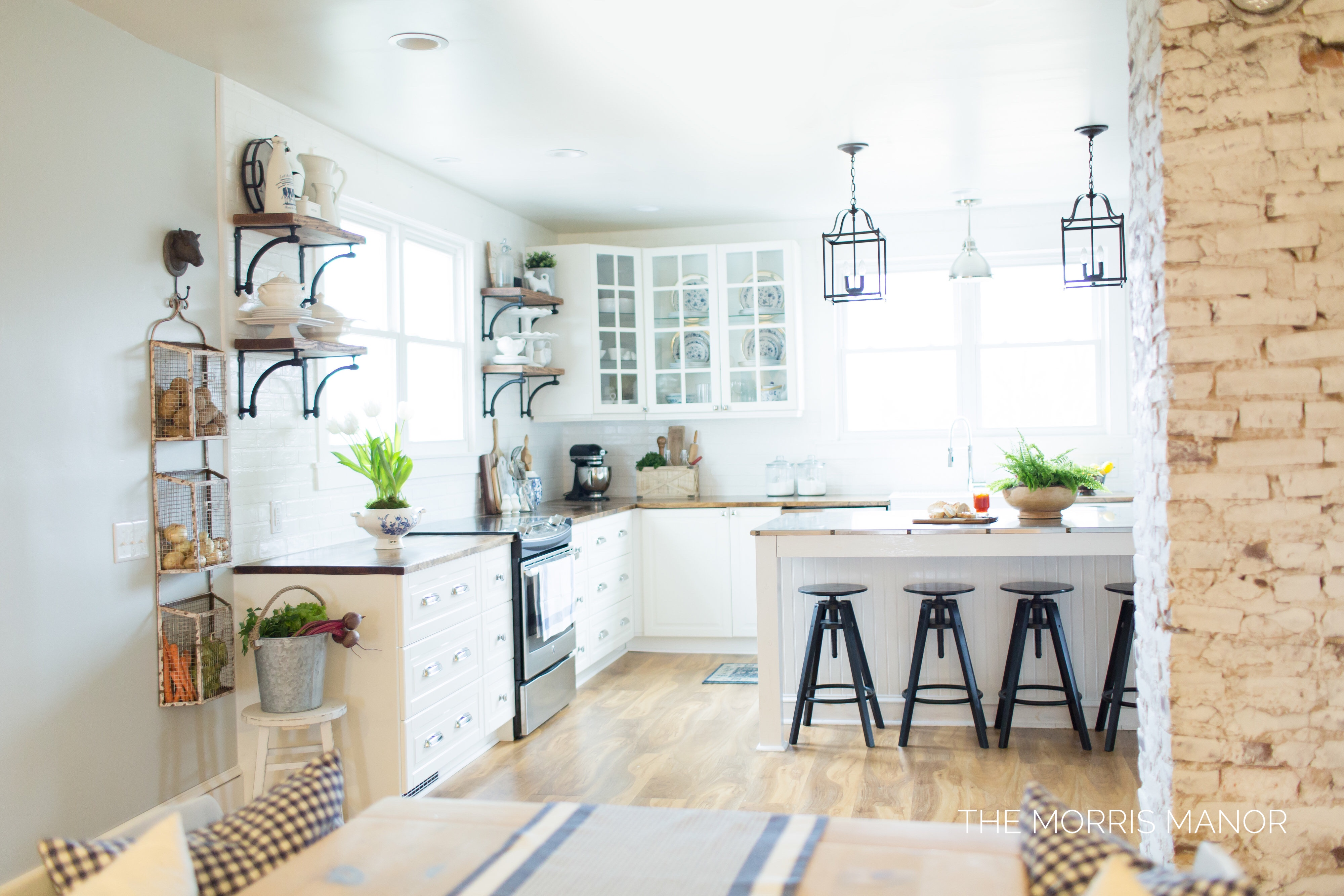 The Morris Manor Home Tour - Vintage White Farmhouse Kitchen, Open Cabinets, Island