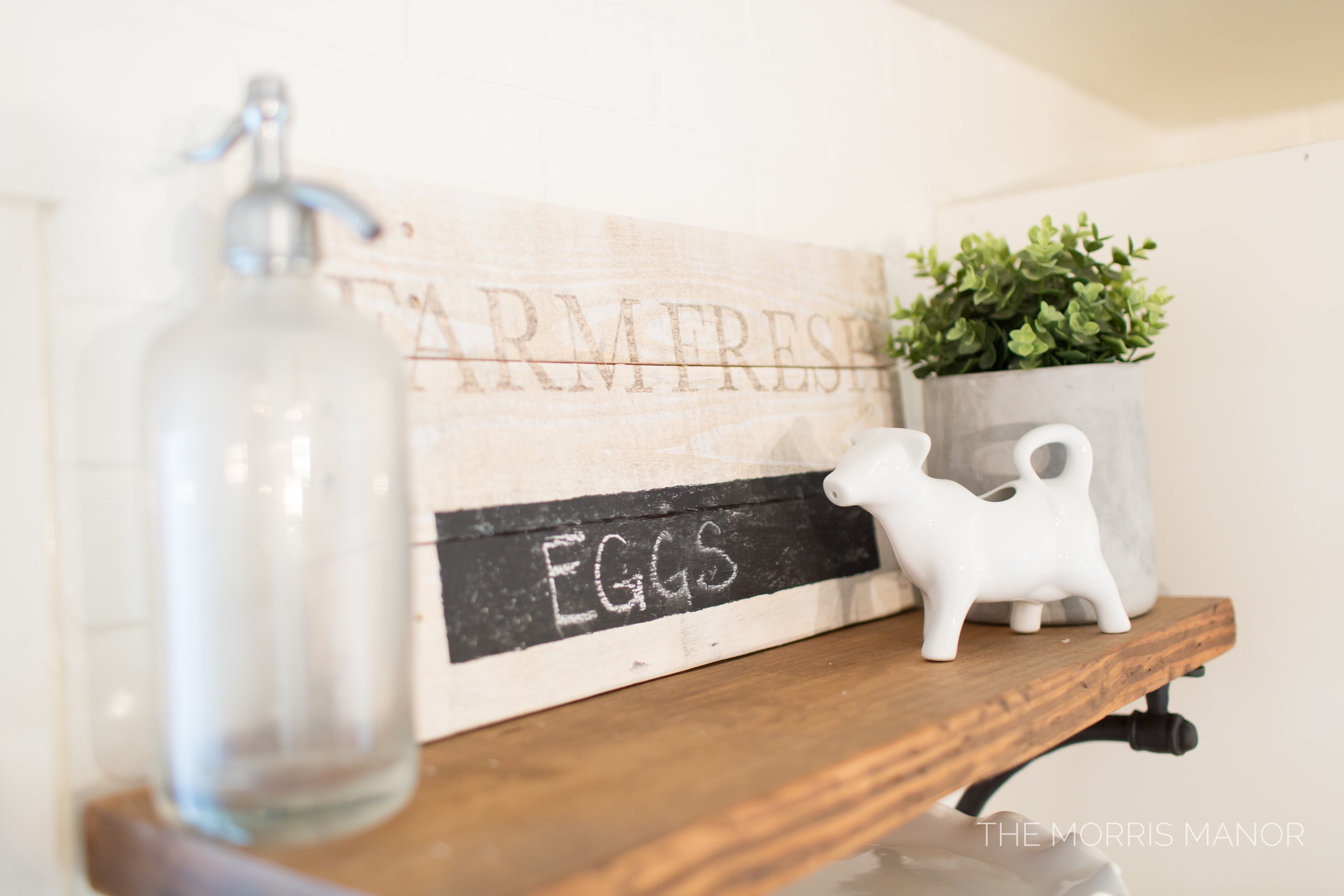 The Morris Manor Home Tour - Vintage White Farmhouse Kitchen, Warm Wood Open Shelves, Seltzer Bottle, Cow Creamer