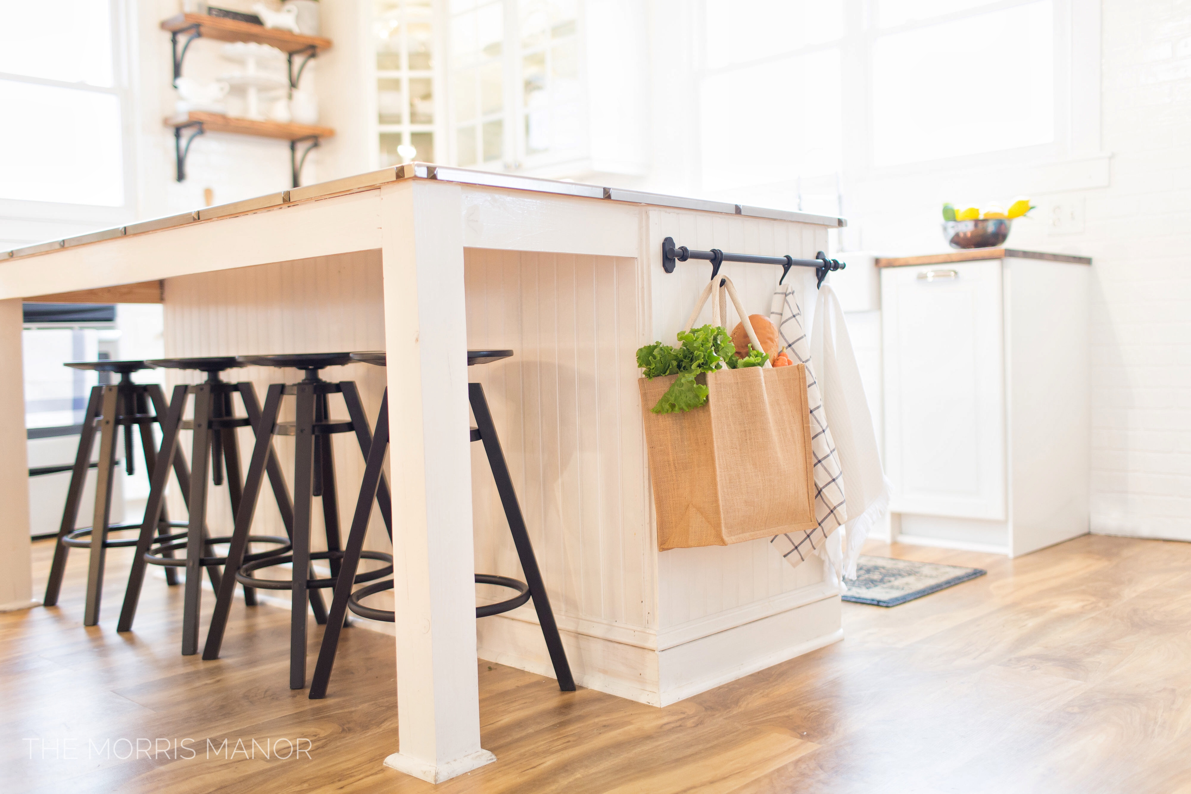The Morris Manor Home Tour - Vintage White Farmhouse Kitchen Island, Stainless Steel Counter Top, Ikea Rod Storage