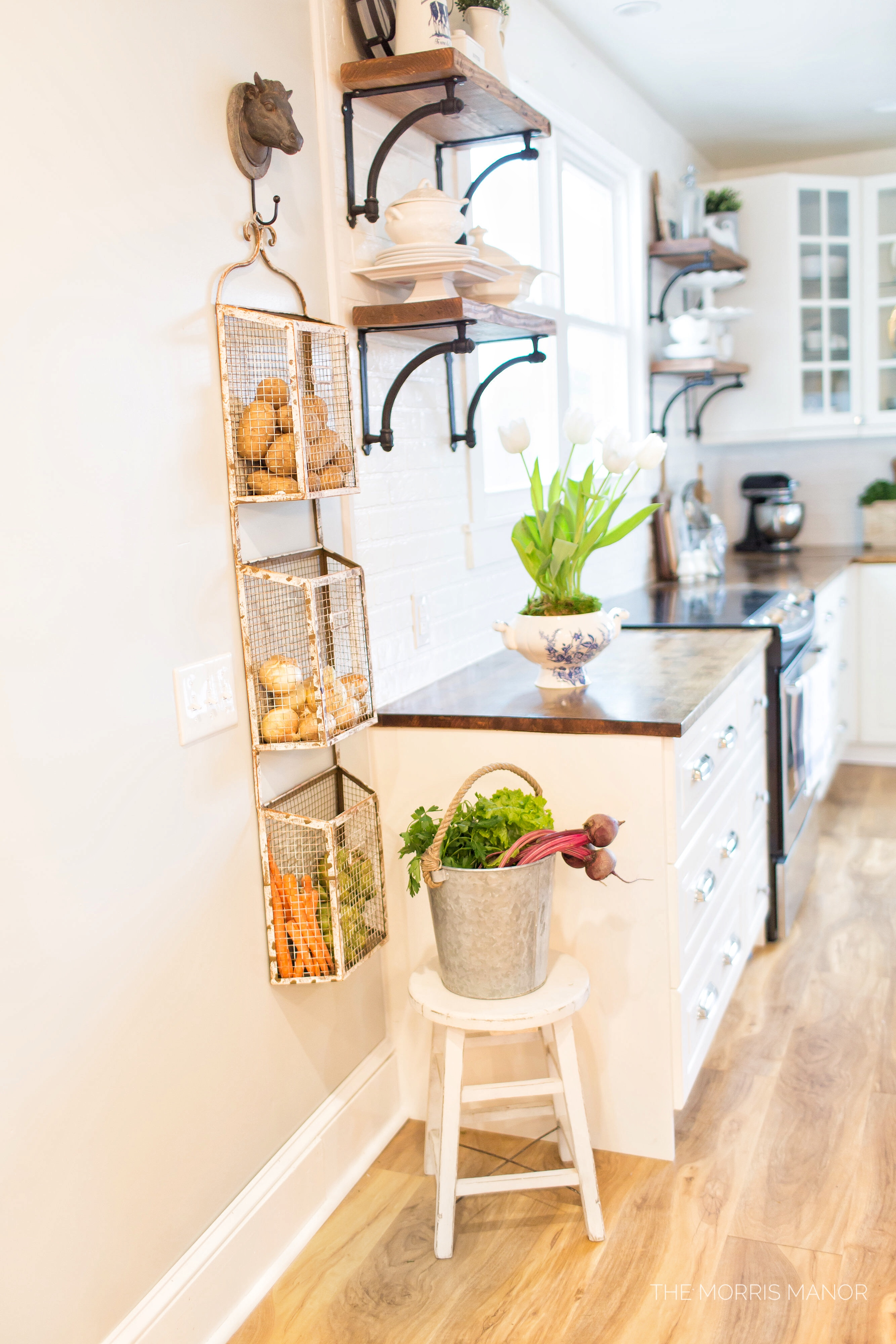 The Morris Manor Home Tour - Vintage White Farmhouse Kitchen Magazine Produce Storage Rack, Open Shelf Wood Counter Tops