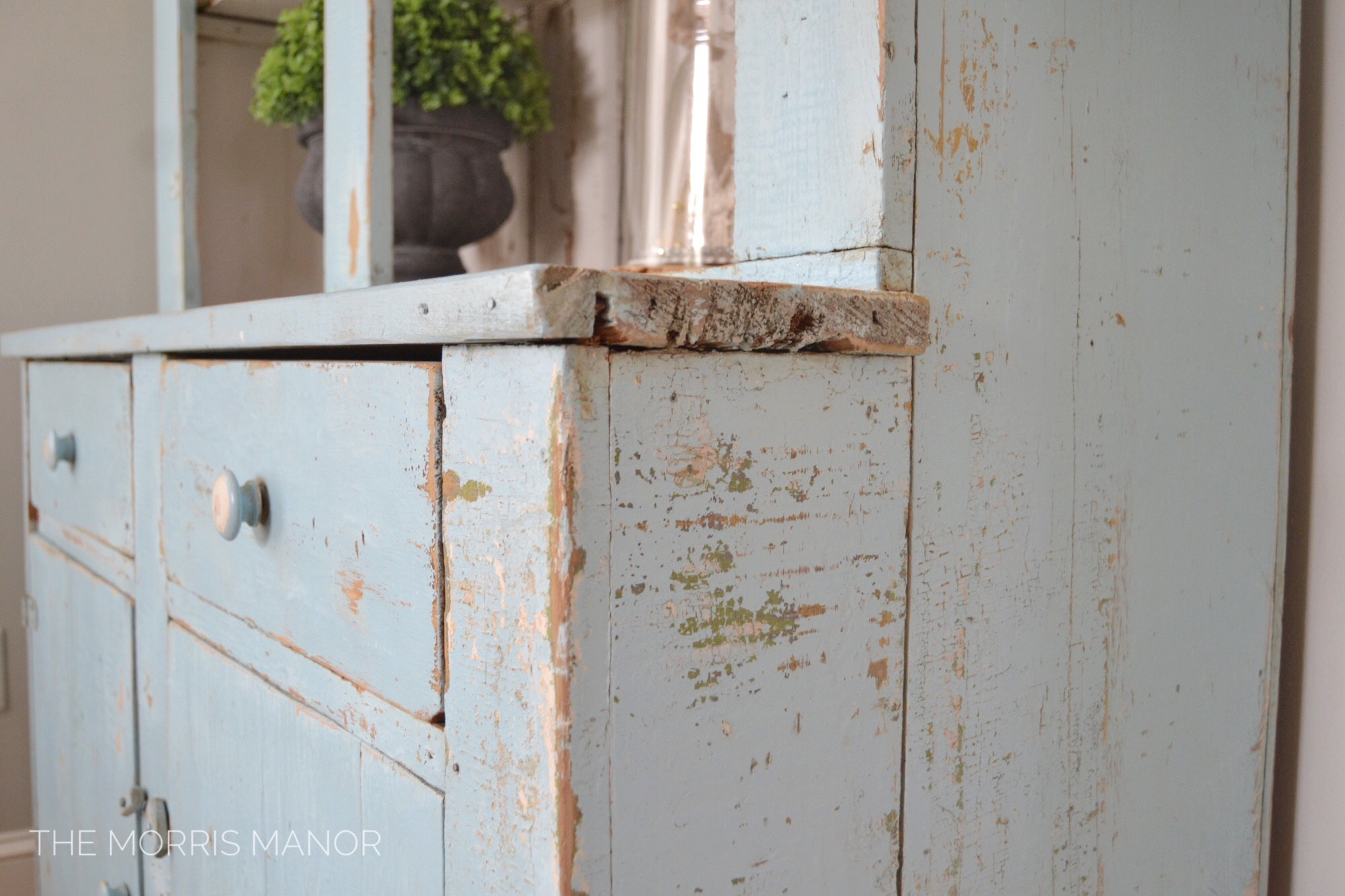 The Morris Manor Farmhouse Home Tour - Vintage chippy blue cabinet hutch