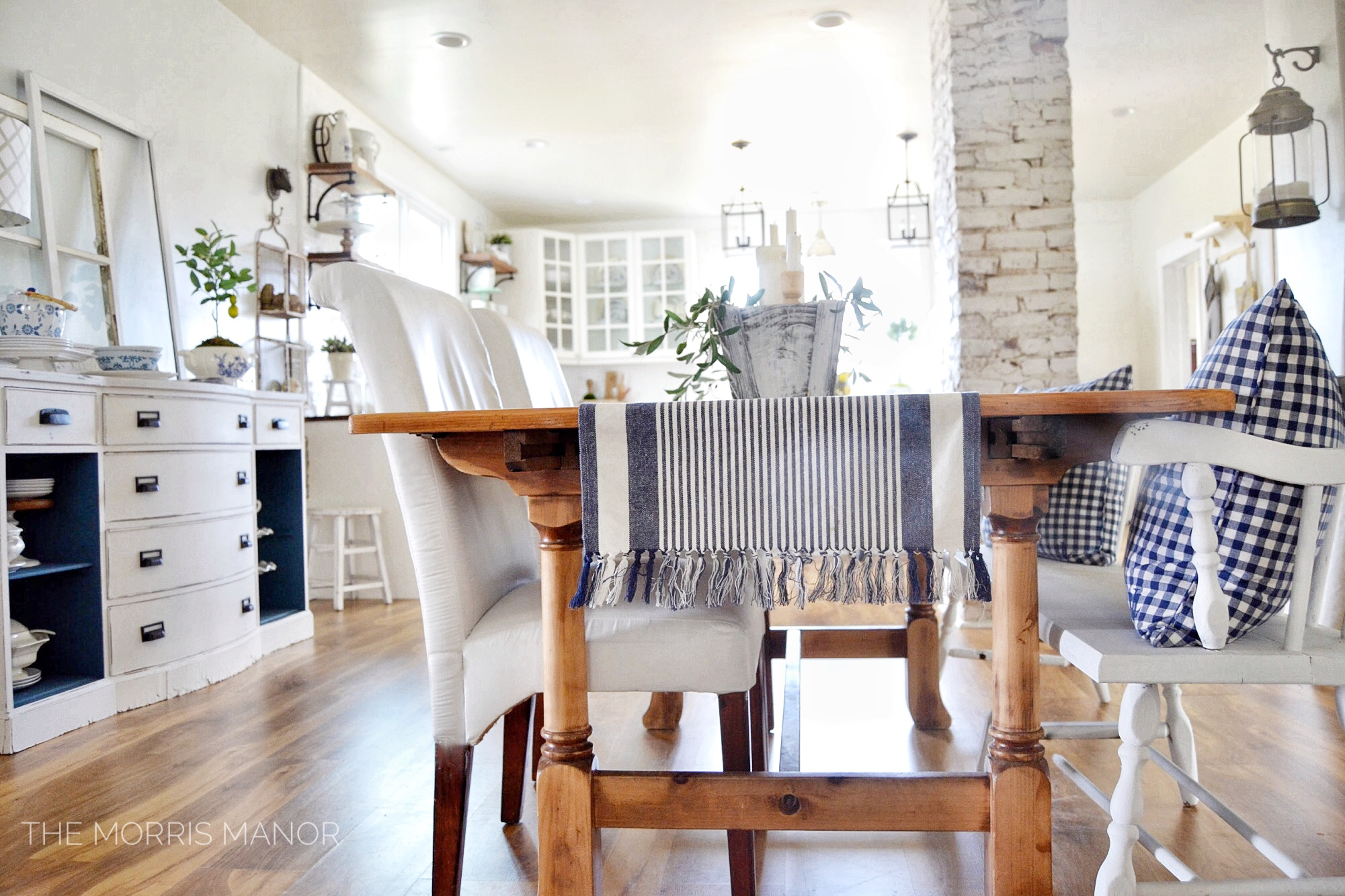 The Morris Manor Farmhouse Home Tour - Family Great Room - Vintage farm table dining room, kitchen, exposed brick