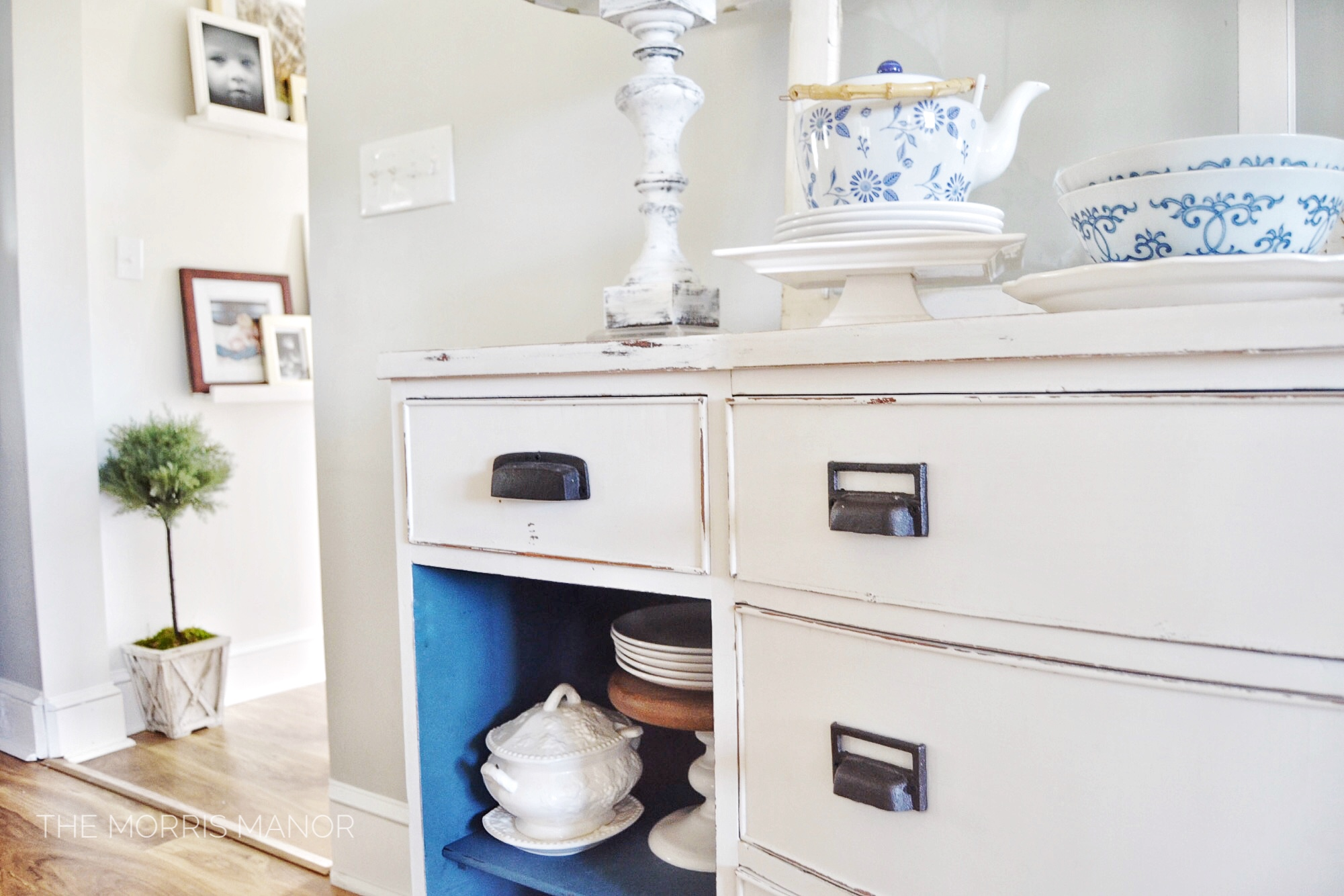 The Morris Manor Farmhouse Home Tour - Vintage thrift store buffet, blue + white paint makeover
