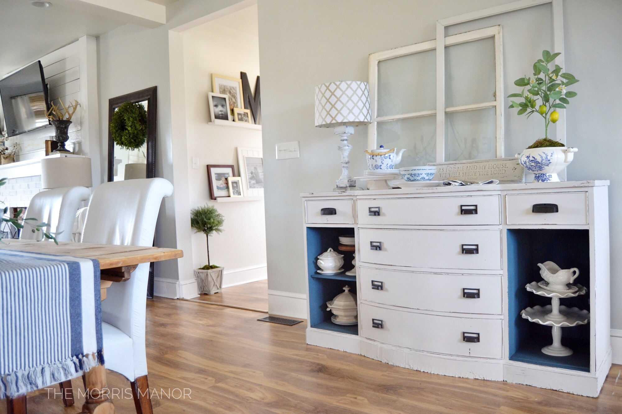 The Morris Manor Farmhouse Home Tour - Dining Room - Vintage thrift store buffet, paint makeover